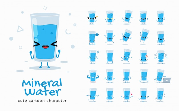 Set of cartoon images of mineral water.  illustration. Premium Vector