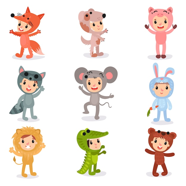Set of cartoon little kids characters in animal costumes fox, puppy, pig, raccoon, mouse, bunny, lion, crocodile and bear. isolated flat   design Premium Vector