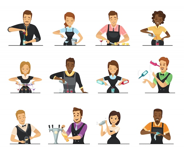 Set of cartoon male and female bartender Free Vector