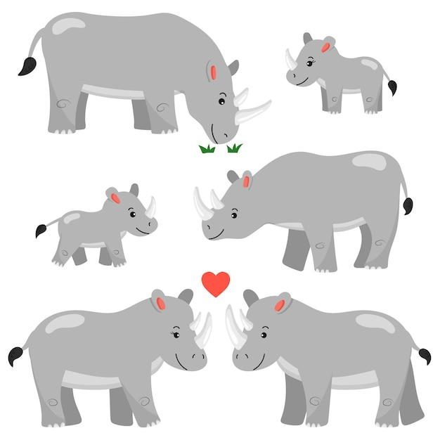 A set of cartoon rhinos characters. isolated. african animals. rhinos family. Premium Vector