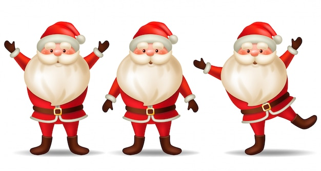 Set cartoon santa claus. Premium Vector