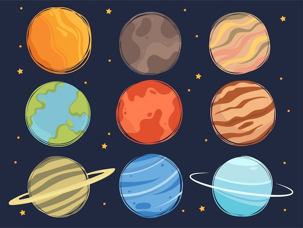 Set of cartoon space planets. сollection of cute planets and stars of the solar system. Premium Vector