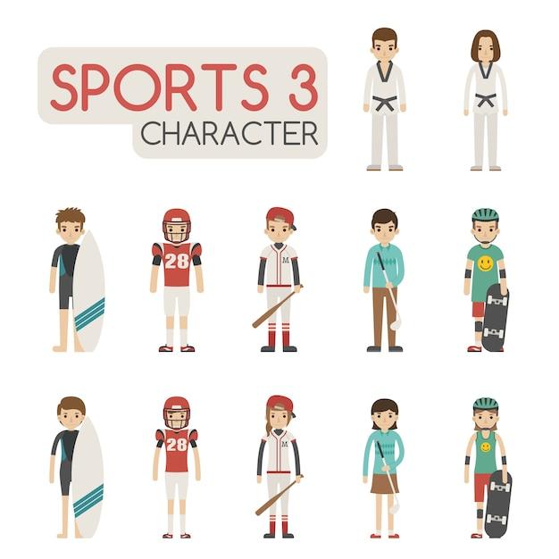 Set of cartoon sport characters Premium Vector