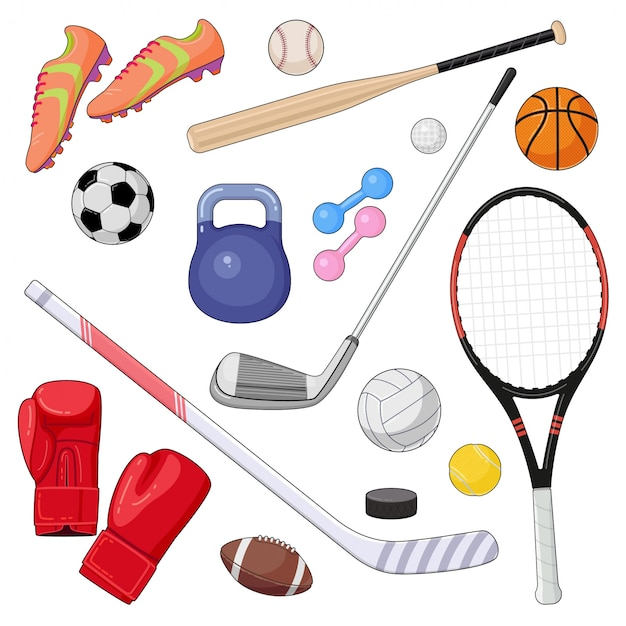 Set Of Cartoon Sport Equipment Vector Illustration Of Colorful Sport Balls And Gaming Items Premium Vector