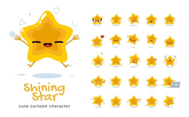 Set of cartoon  of star.  illustration. Premium Vector
