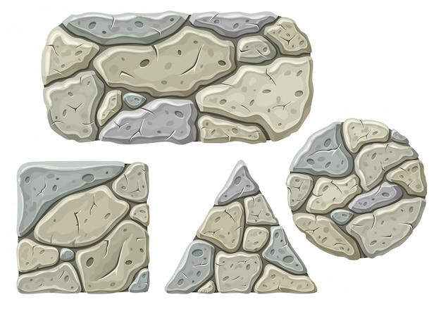 Set of cartoon stone boards. Free Vector