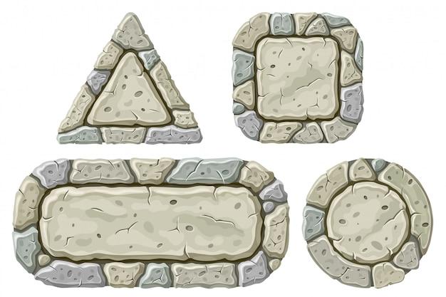 Set di tavole di pietra del fumetto Vettore gratuito