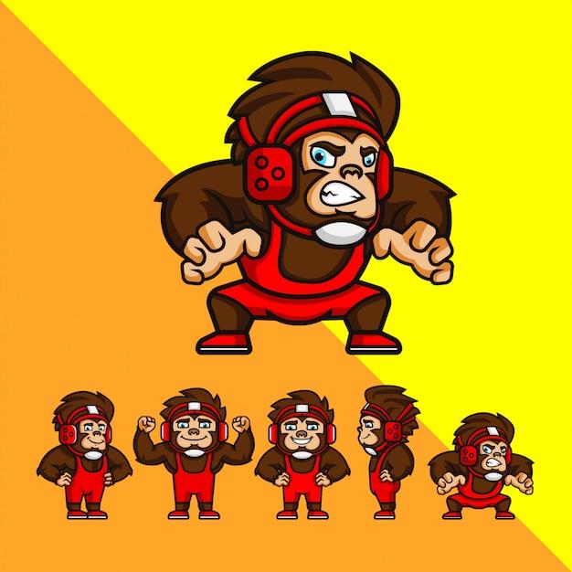 Set of cartoon wrestler monkey with some pose. logo mascot character illustration Premium Vector