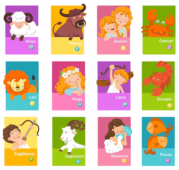 Set cartoon zodiac signs Premium Vector