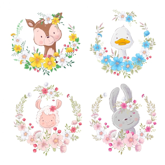 Set cartoons cute animals deer duck lama hare in flower wreaths Premium Vector