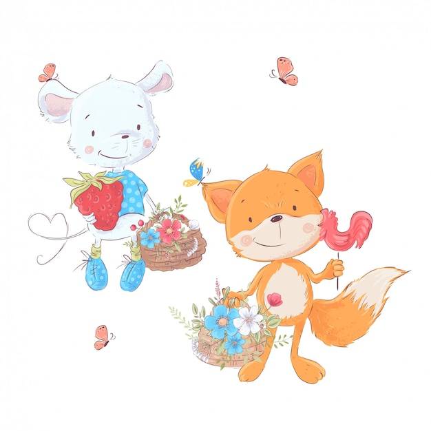 Set cartoons cute animals mouse and fox with baskets of flowers Premium Vector