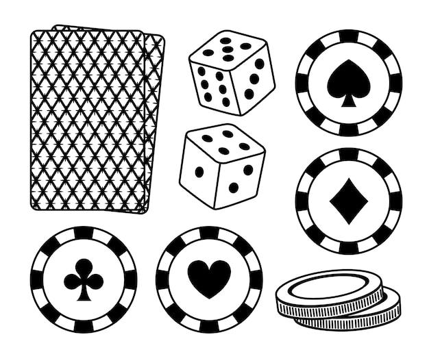Set of casino elements vector illustration graphic design Premium Vector