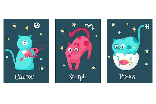 Set of cat astrology zodiac sign cards Premium Vector