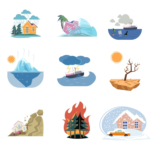 Set of catastrophe icons and outdoor natural disasters  on white background Premium Vector