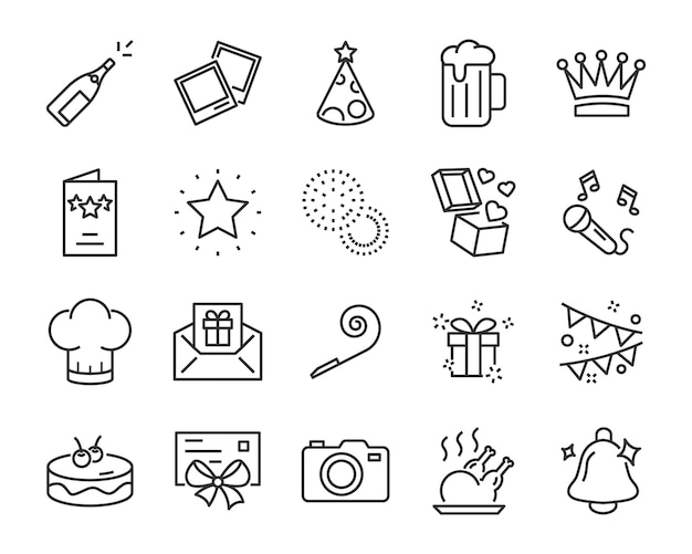 Set of celebration icons, such as gift, christmas, party, champagne, event, birthday Premium Vector