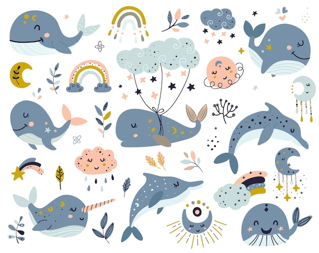 Set of celestial whales, dolphins and narwhal Premium Vector