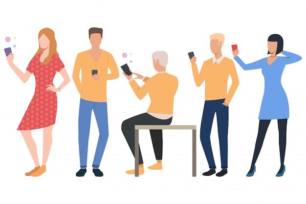 Set of cellphone users. men and women using smartphones Free Vector