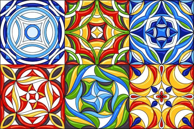 Set of ceramic tile patterns. gorgeous seamless patterns. Premium Vector