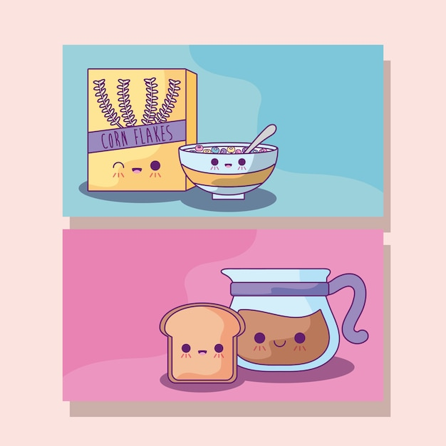Set of cereal with coffee and bread kawaii style Premium Vector