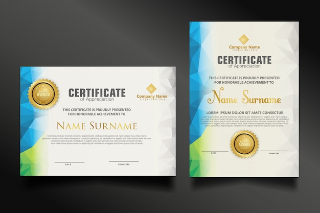 Set certificate template with dynamic and futuristic polygonal color and modern shapes Premium Vecto