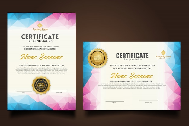 Set certificate template with dynamic and futuristic polygonal shapes Premium Vector