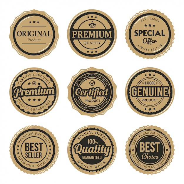 Set of certified premium vintage badges and labels Premium Vector