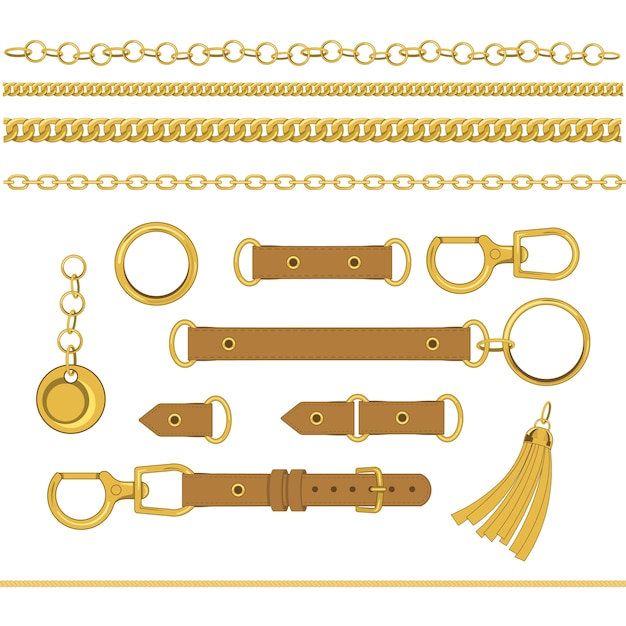 Set of chains and accessories Premium Vector