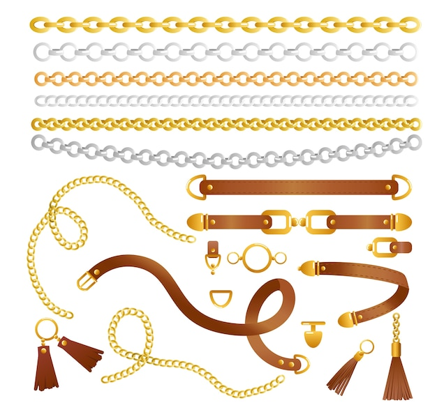 Set of chains and belts fashion collection of elements for fabric Premium Vector