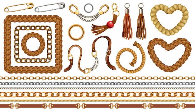 Set of chains, fringe and belts. Premium Vector