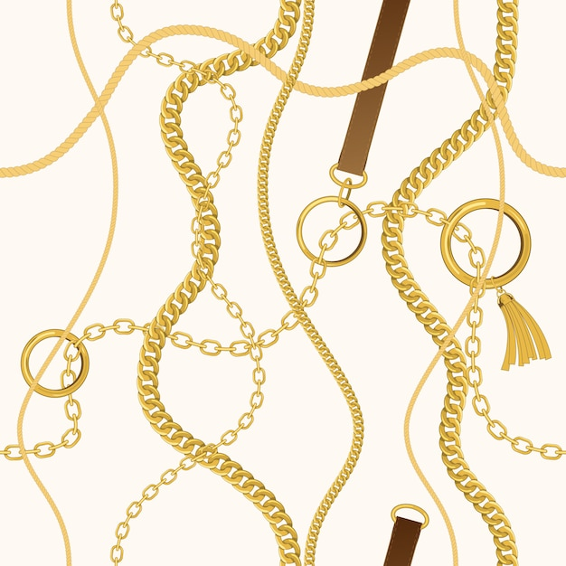 Set of  chains, ropes and belts. Premium Vector