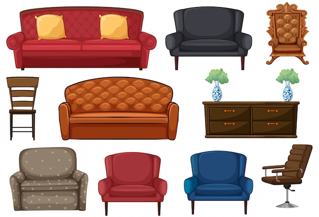 Set of chair and couch Free Vector