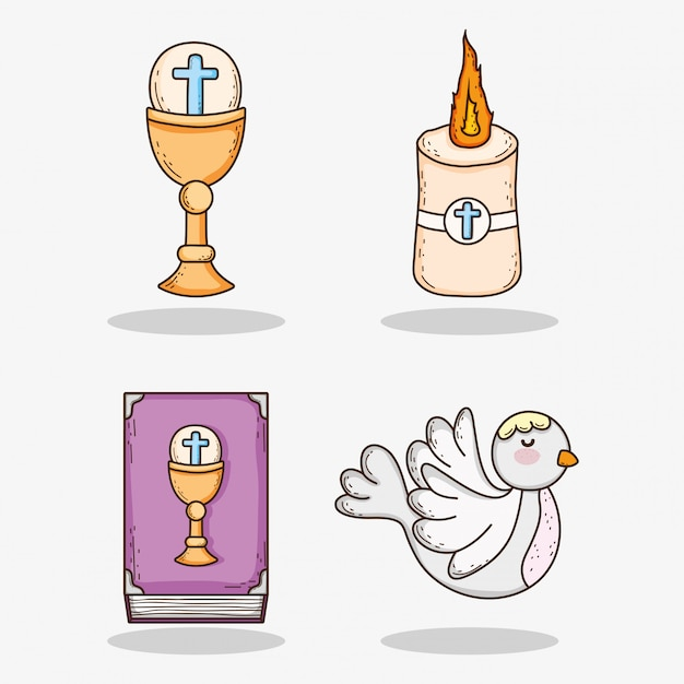 Set chaliz with host and candle with bible and dove Premium Vector