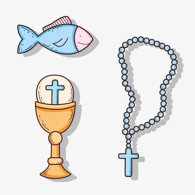 Set chaliz with host and cross rosary with fish Premium Vector
