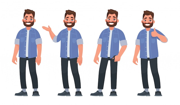 Set of character a handsome bearded man in casual clothes in different poses Premium Vector