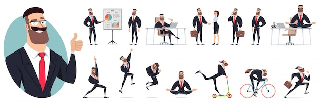 Set of character illustration Premium Vector