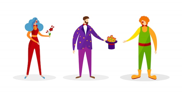 Set of characters in artistic costumes for show. Premium Vector