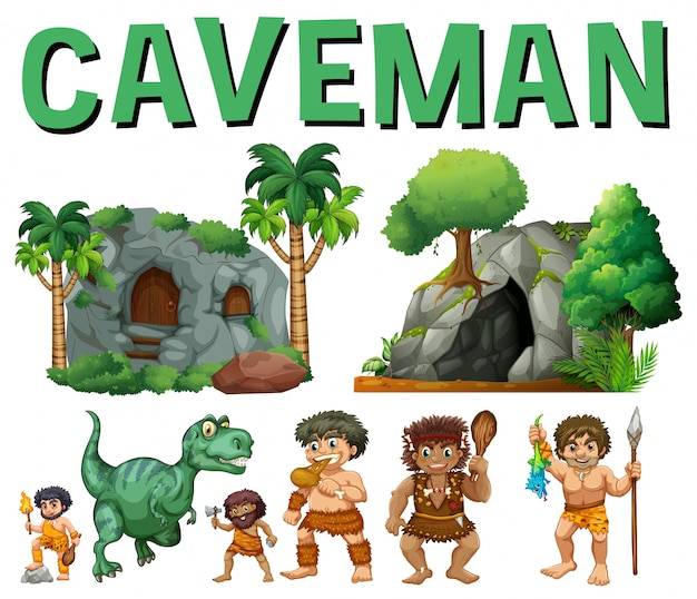 Set of characters and caves for caveman Free Vector
