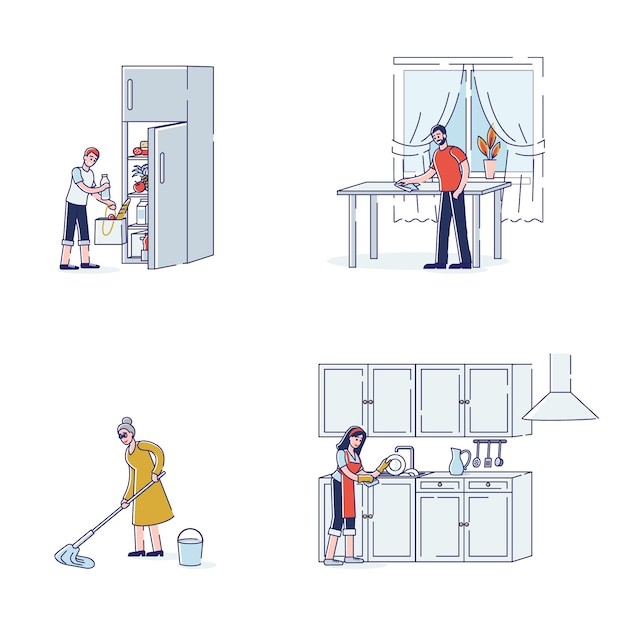 Set of characters doing housework routine for kitchen mop floor wash dishes Premium Vector