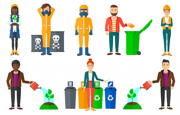 Set of characters on ecology issues. Premium Vector