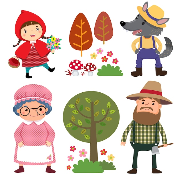 Set of characters from little red riding hood fairy tale Premium Vector