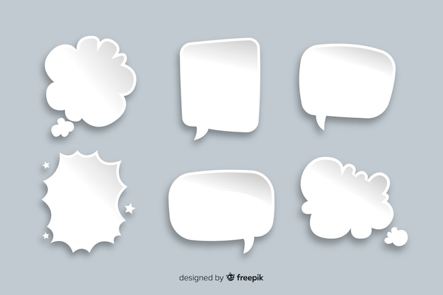 Set of chat bubbles in comic style Free Vector