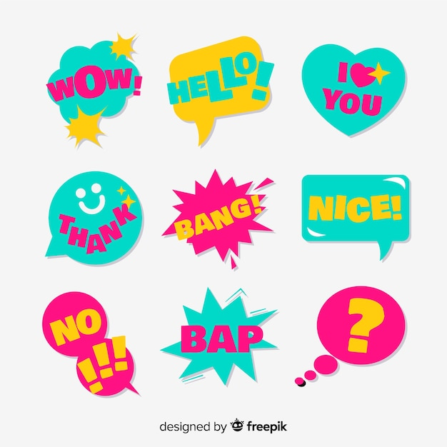 Set of chat bubbles with short messages Free Vector