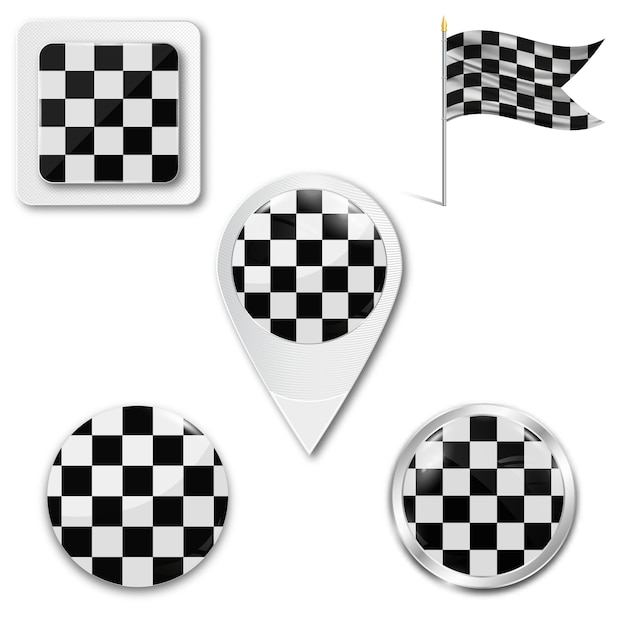 Set of checkered flag icons for racing Premium Vector