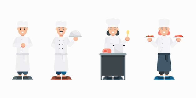 Set of chef characters. modern cartoon man and woman with uniform characters in flat style. Premium Vector
