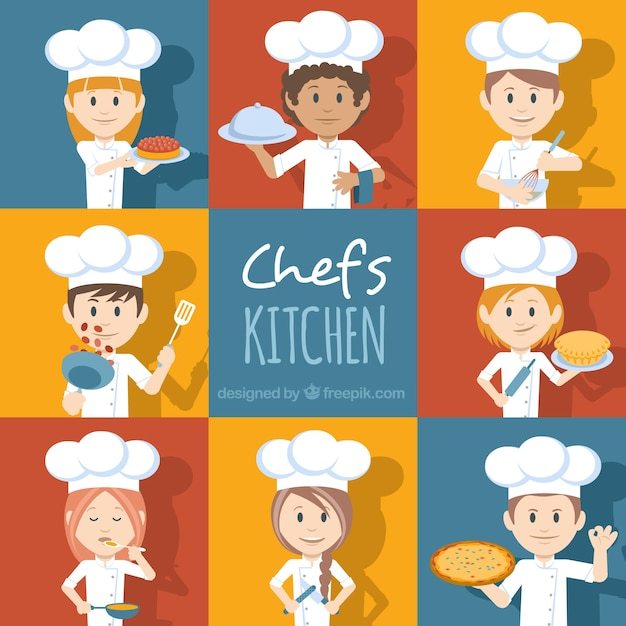 Set of chef characters with different accessories Free Vector