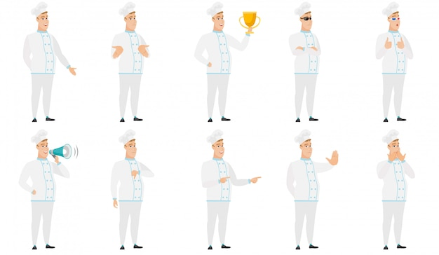 Set of  chef characters. Premium Vector