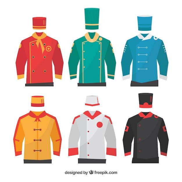 Set of chef's uniforms Free Vector