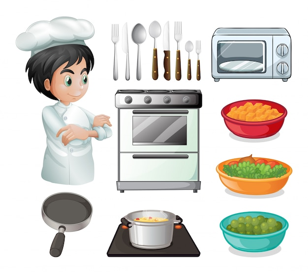 Set of chef with other kitchen equipments Free Vector