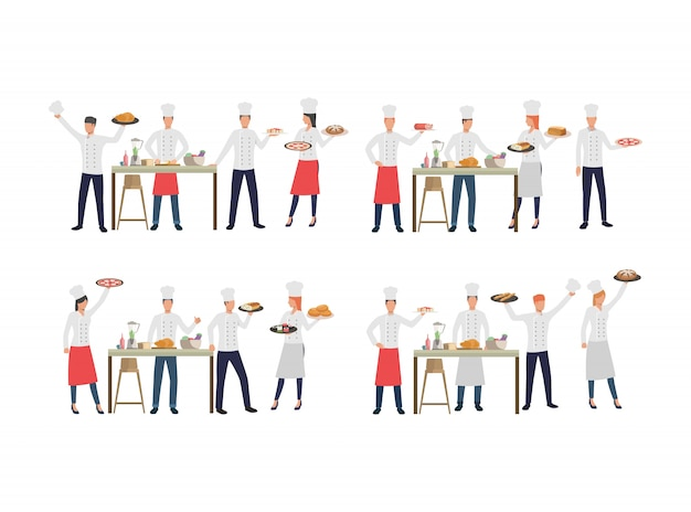 Set of chefs with various dishes Free Vector