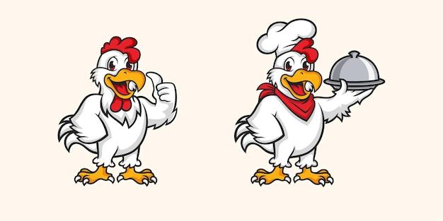 Set of chicken mascot isolated on beige Premium Vector